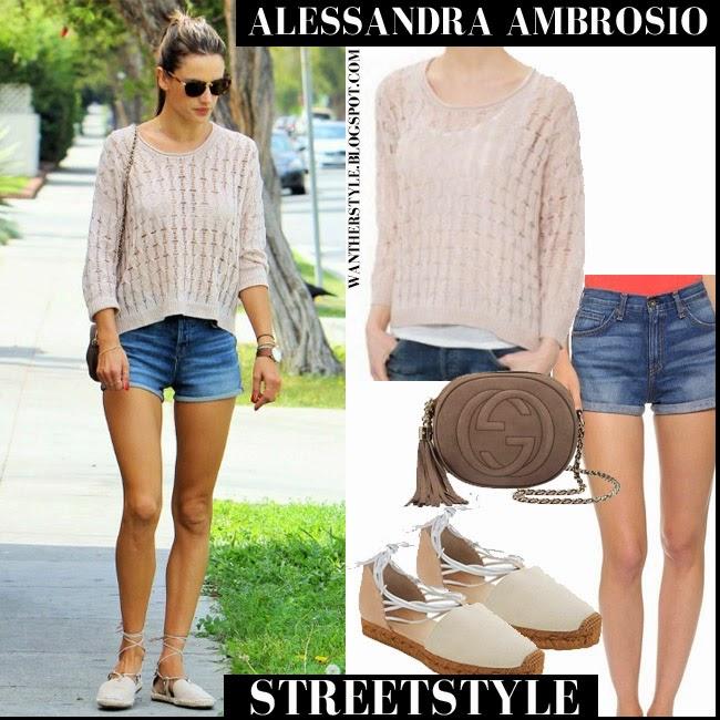 Alessandra Ambrosio in cream knit sweater, denim Rag Bone Segrin shorts, beige Chloe espadrilles and Gucci bag want her style spring fashion