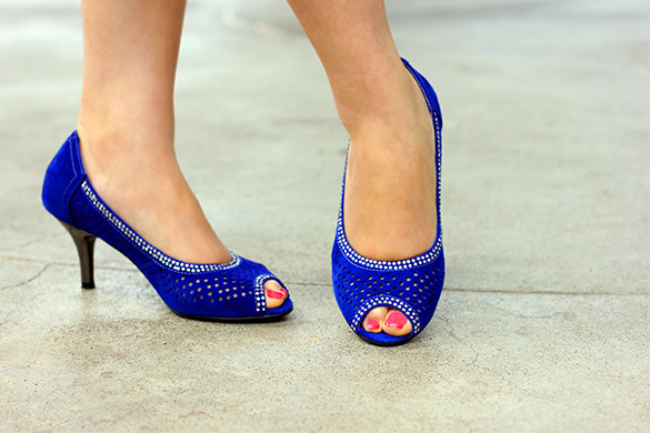 fed International Blue Peep Toe Heels
