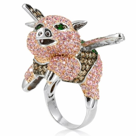 jewelry designs flying pig cocktail ring