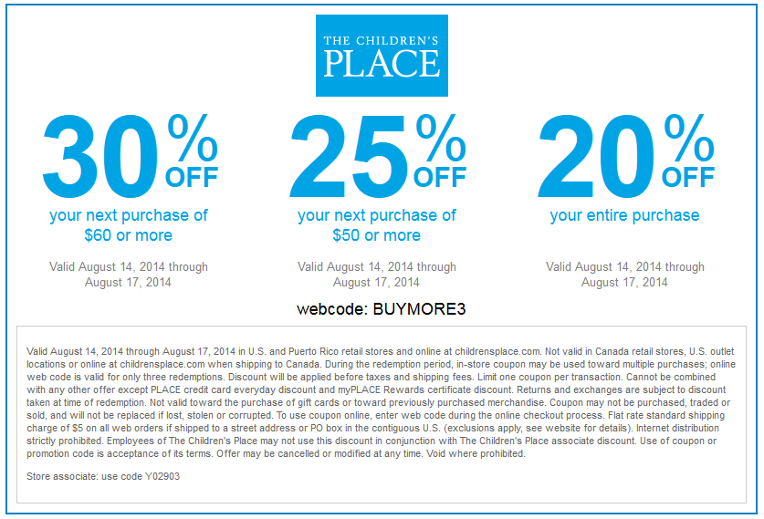 The Children's Place Promo Codes & Holiday Coupons for December, Save with 13 active The Children's Place promo codes, coupons, and free shipping deals. 🔥 Today's Top Deal: 20% Off Your First Purchase, 5% Off Additional Purchases. On average, shoppers save $30 using The Children's Place coupons from bauernhoftester.ml