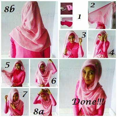 Gambar cara memakai jilbab paris ala zaskia