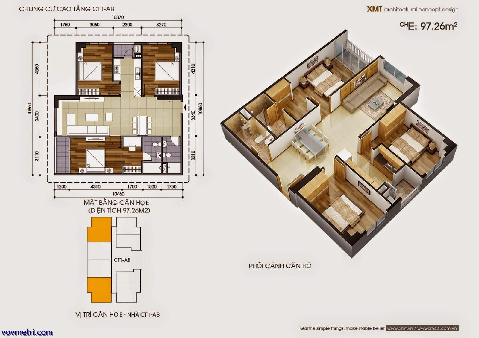 Phối cảnh căn hộ CT1AB - DT 97 m2