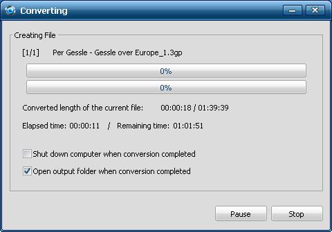 процесс конвертирования файла