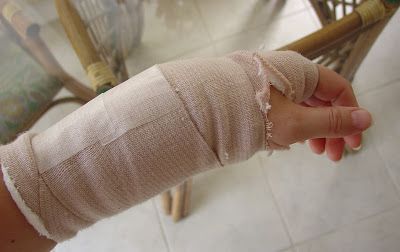 Vicky's Bandage on Right Wrist