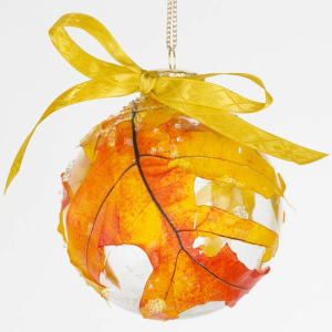Decoupaged leaf ornament