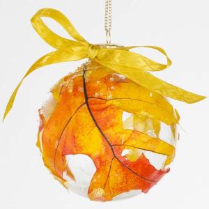 Decoupaged leaf ornament