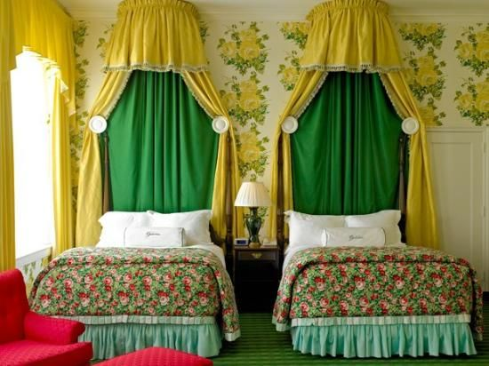 the greenbrier resort green and yellow decor