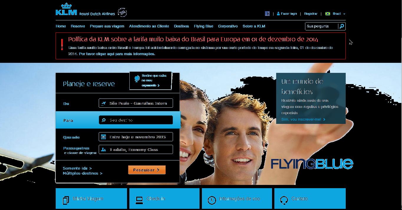 Captura de tela do site da KLM