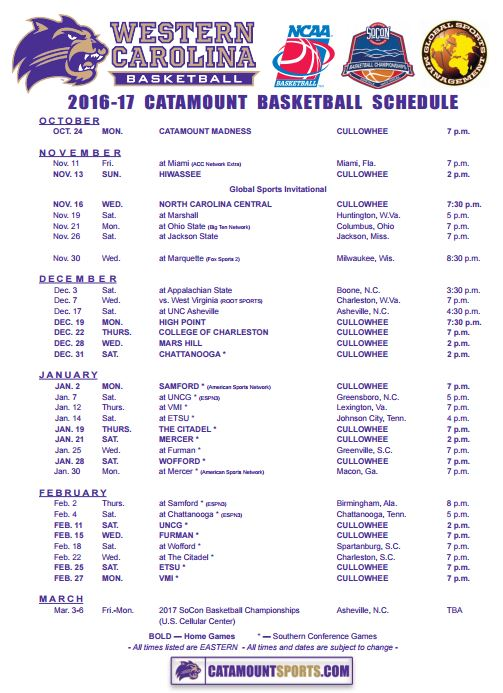 2016-17 Basketball Schedule