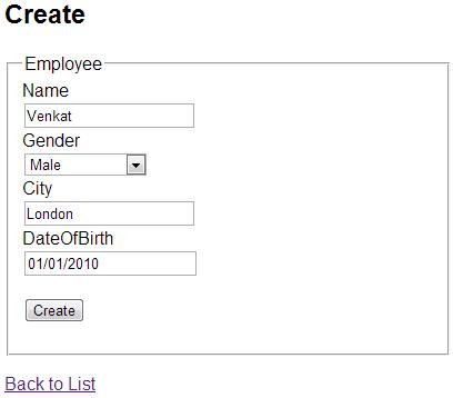 Create employee view in mvc