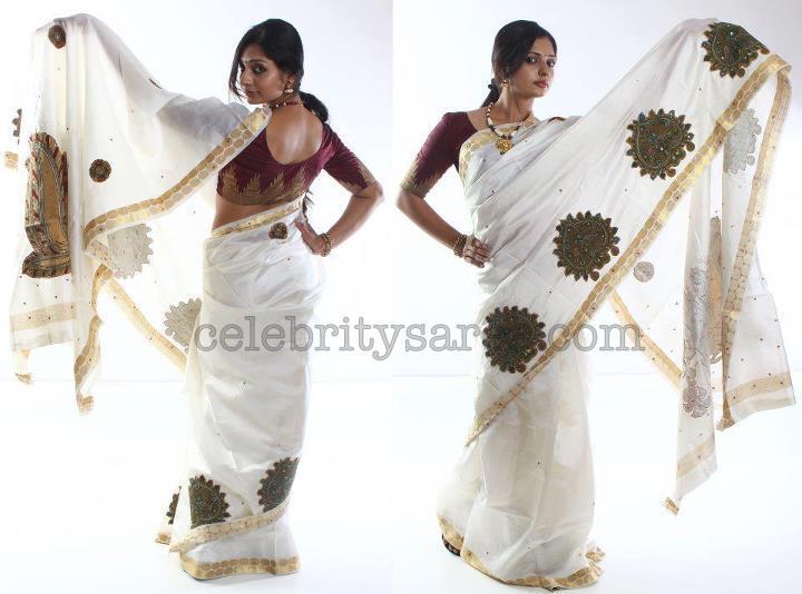 Kalamkari applique white saree saree blouse patterns