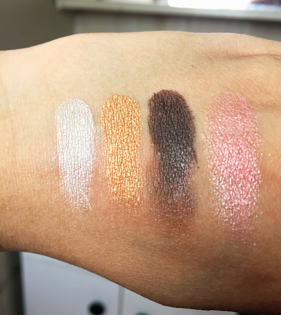 Daiso Japan Swatches Colourful Eyeshadow Quad White Pink Brown Gold Shimmer