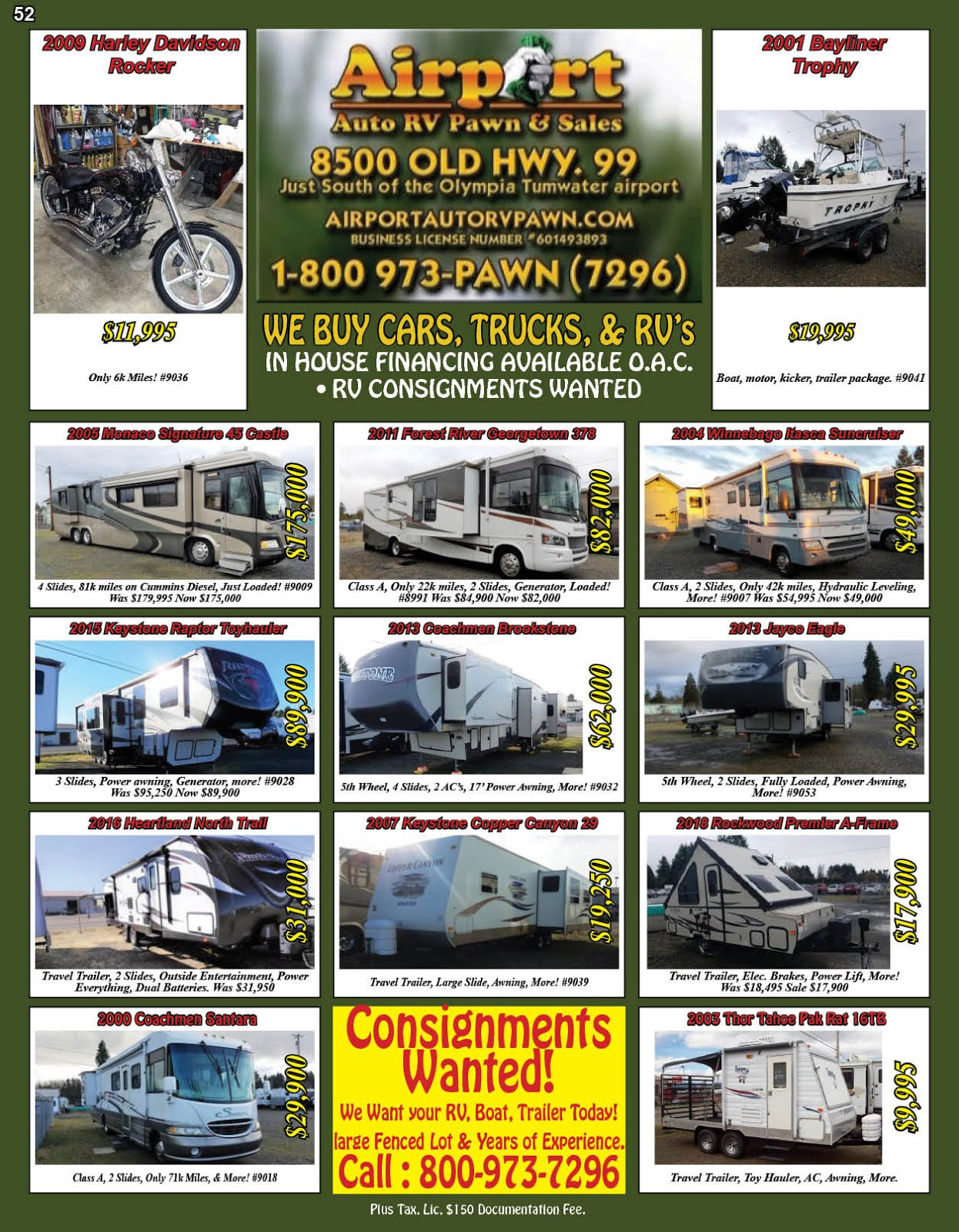 Airport Auto RV Pawn & Sales, RV Consignments Wanted!!