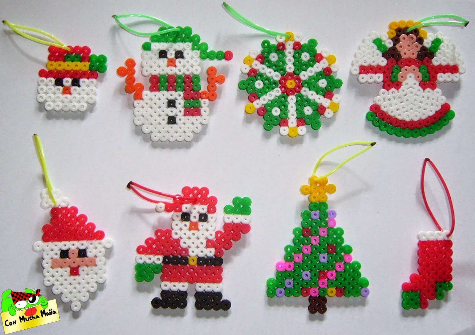 Con mucha ma a creaci n y dise o de abalorios adornos - Adornos navidenos para hacer con ninos ...