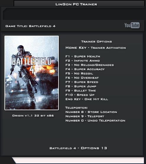 BATTLEFIELD 4 v1.1 Trainer 13 [LinGon]