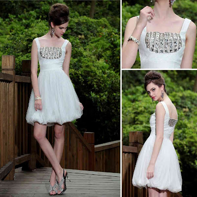 White Square Knee Length Dress
