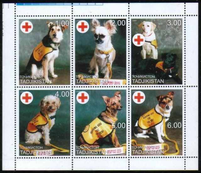 年度不明タジキスタン共和国 聴導犬の切手シート