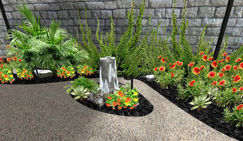 modelo de jardin con flores y fuente pilar sobre piedras
