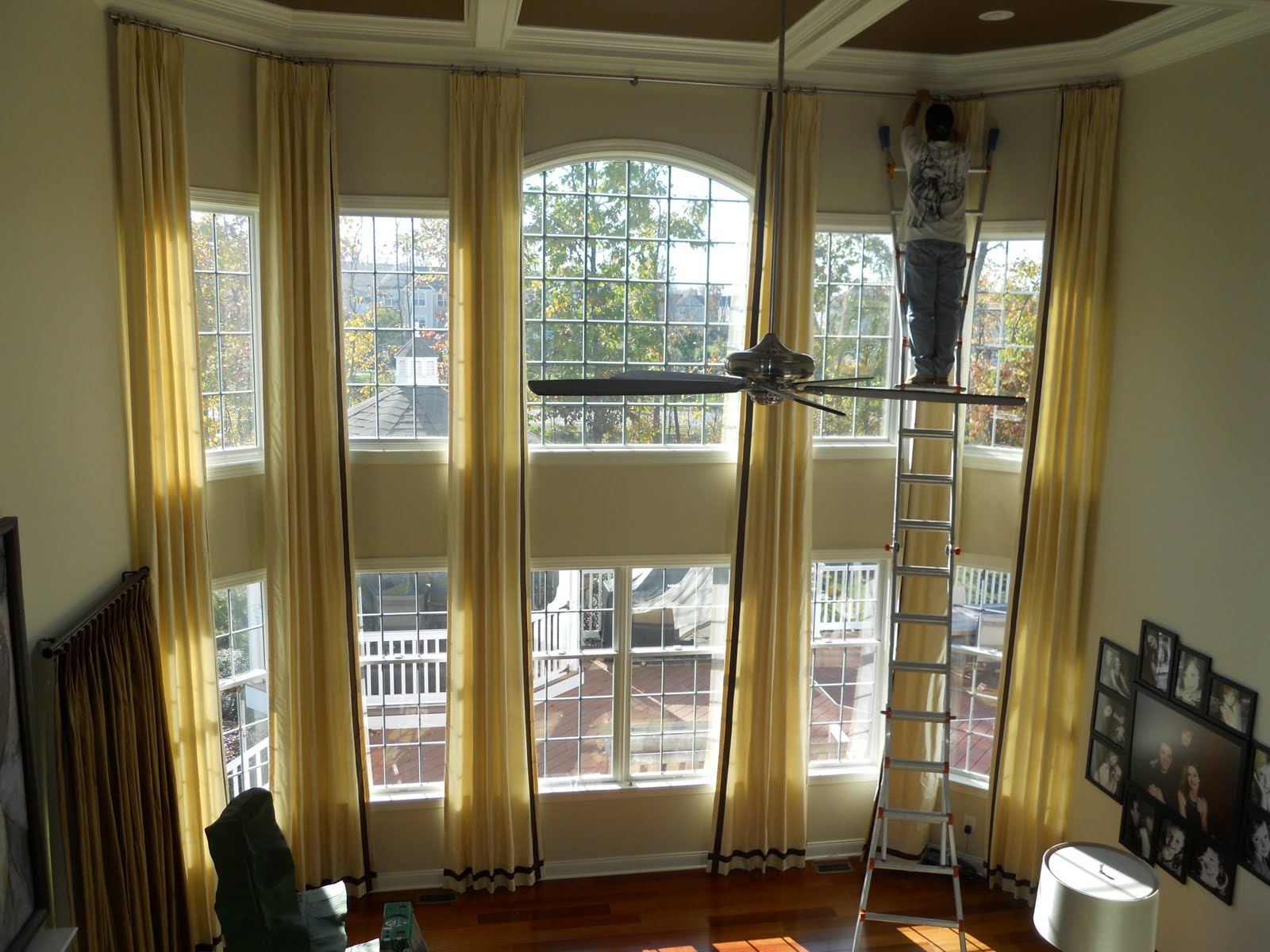 Curtains on pinterest two story windows window for Living room window treatments