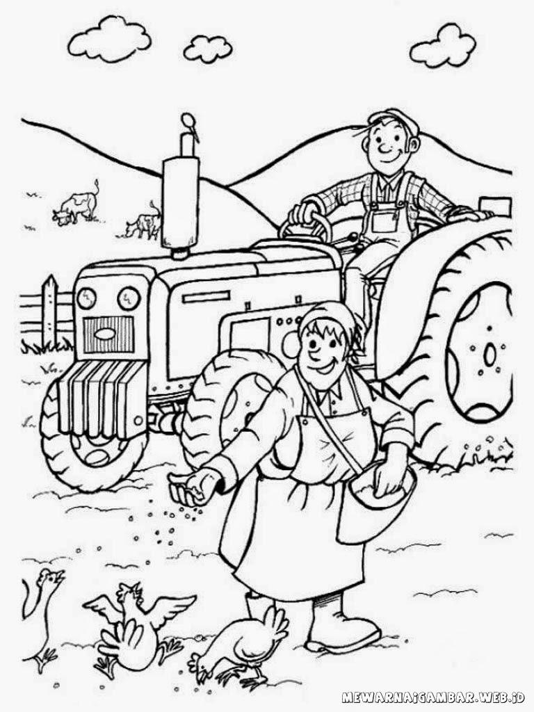 mewarnai gambar petani dipeternakan