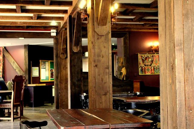 Rustic medieval pub interior