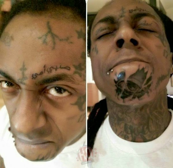[Photos] Lil Wayne Shows Off Scary New Face Tattoos!