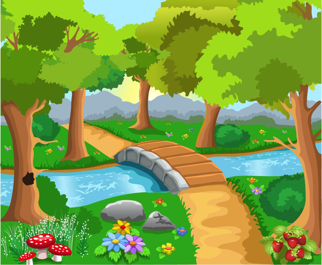 美しい水辺の風景 rivers forests landscape イラスト素材1