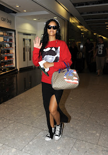 Rihanna arrives at London's Heathrow Airport