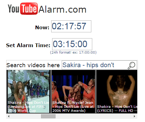 use youtube video as alarm clock