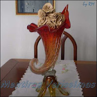 Vaso cristal murano da década de 1950 - Estilo Vintage.
