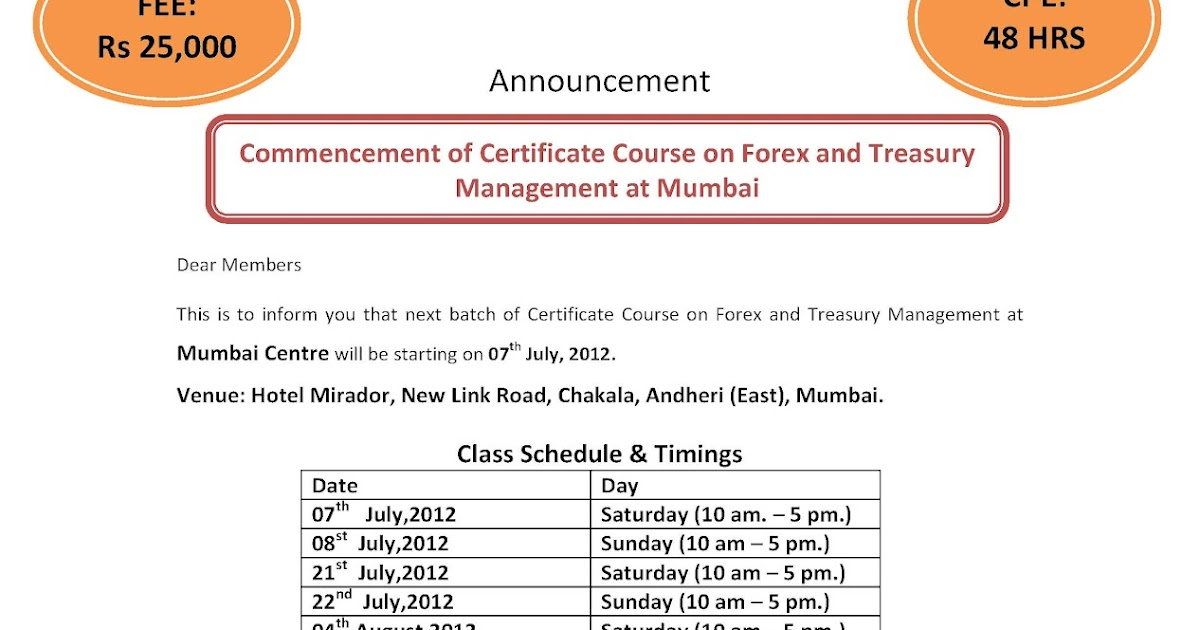 Forex management certification in india