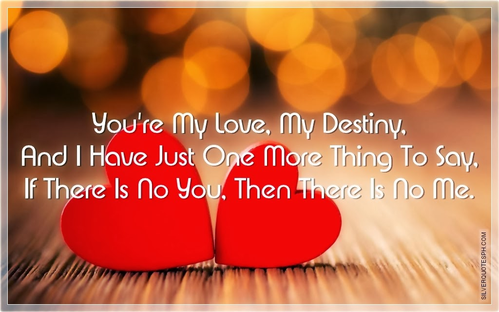 Destiny Love Quotes Interesting You're My Love My Destiny SILVER QUOTES