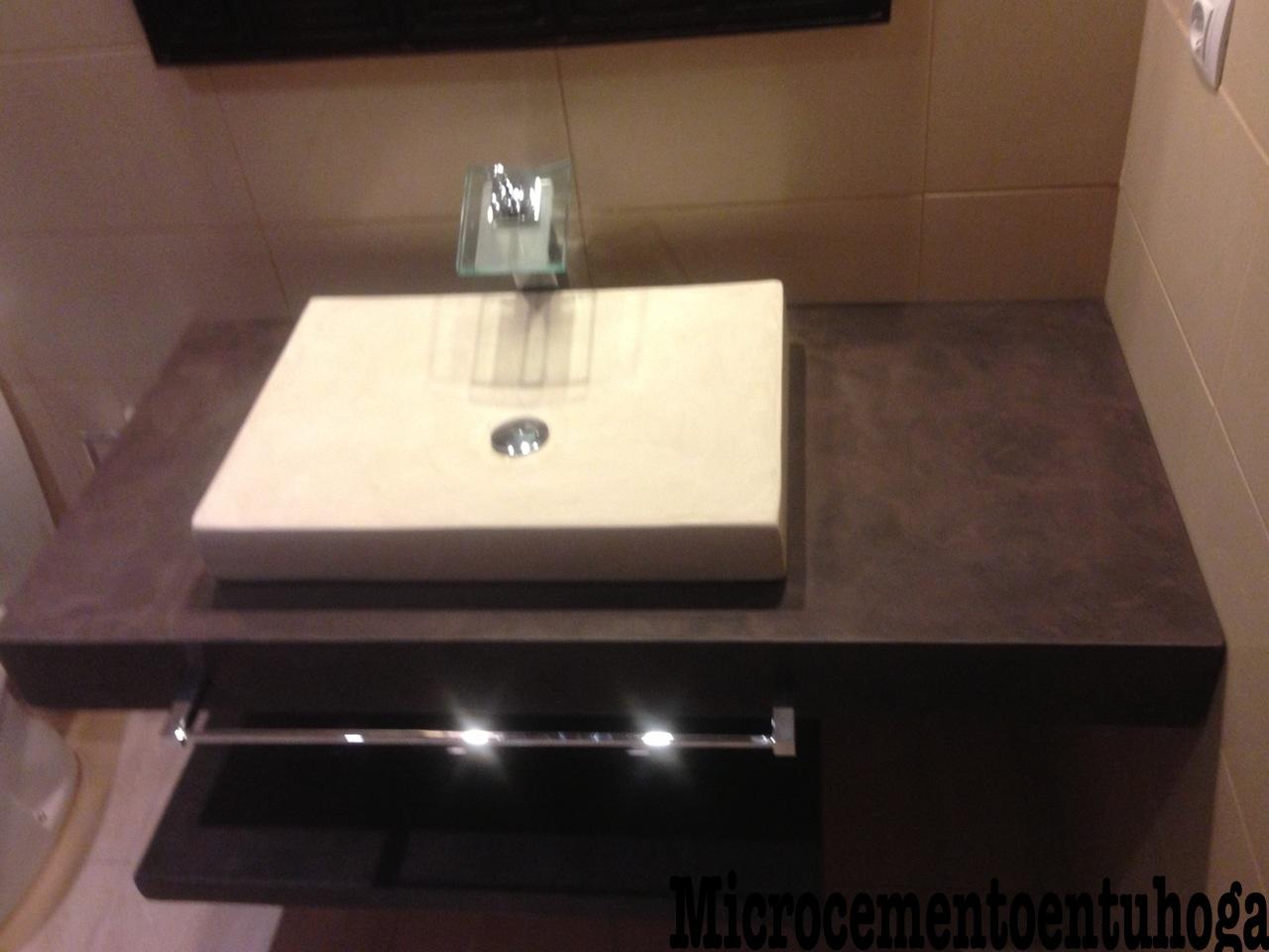 Microcemento en tu hogar mueble lavabo - Como colocar microcemento ...