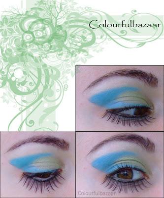 Machiaj albastru cu verde