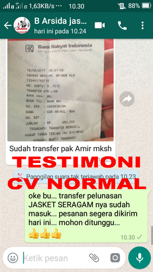 TESTIMONI PEMBELI JASKET CV NORMAL