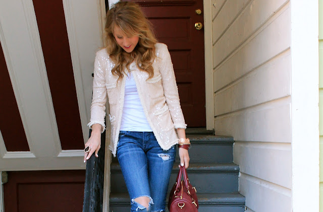 Savvy+Spice+fashion+blog,+Jody+Steliga,+jeans+with+neutral+Zara+sparkly+jacket,+Steve+Madden+burgundy+purse