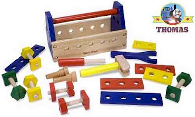 Toddlers and Preschoolers wooden toy tool set with nails and bolts provide constructive learning fun