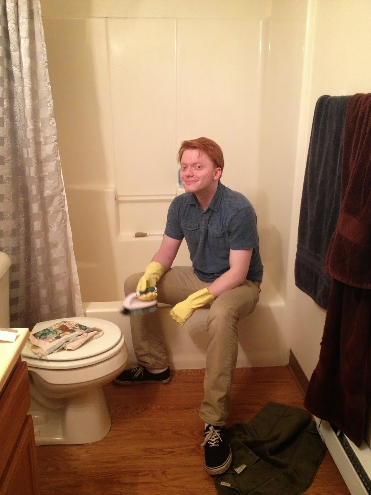 Jeff Cleaning Bathtub
