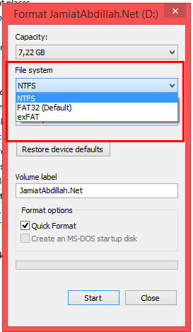 Cara Ubah Format Flashdisk FAT32 ke NTFS