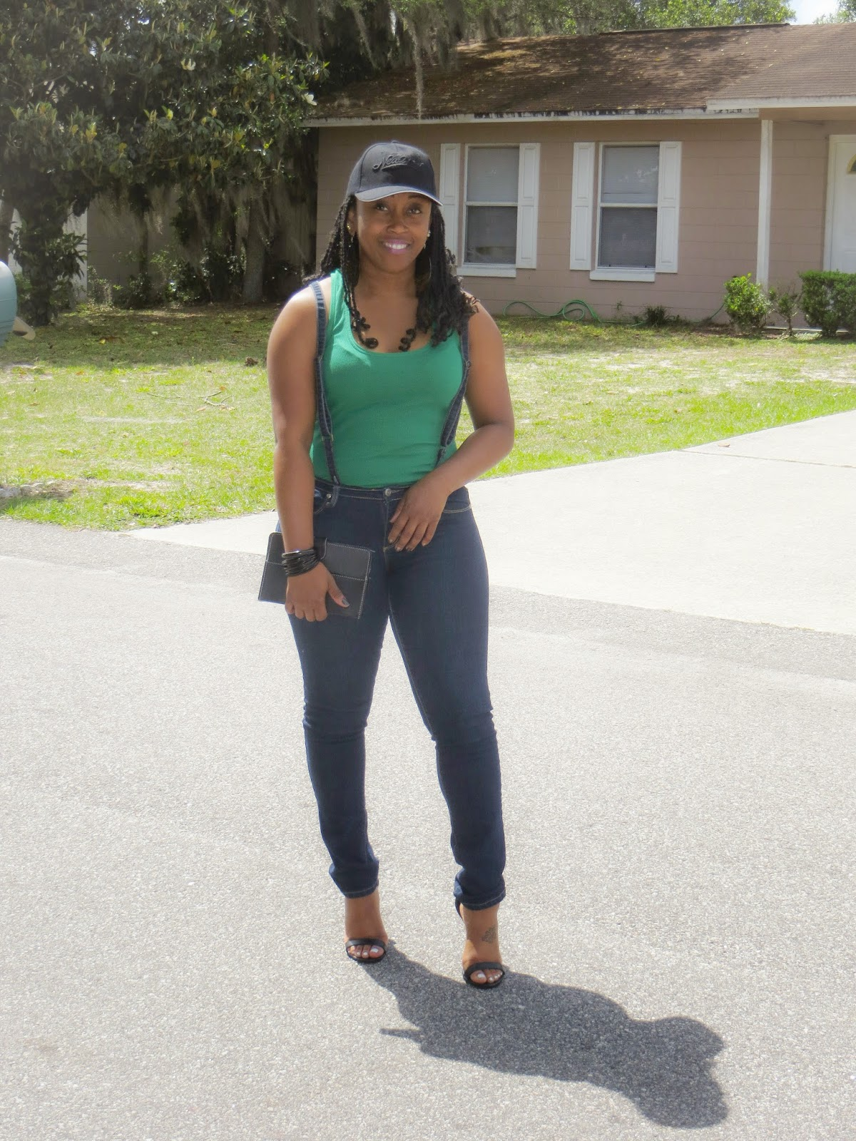 outfit: baseball cap, suspenders, and heels