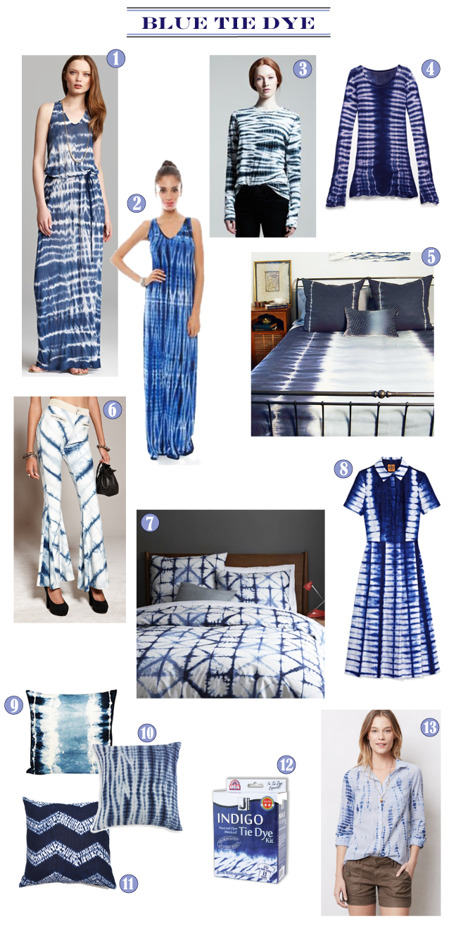 Blue tie dye fashion and home furnishings via Cozy•Stylish•Chic