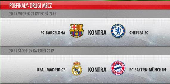 mecze półfinałowe w UEFA Champions League