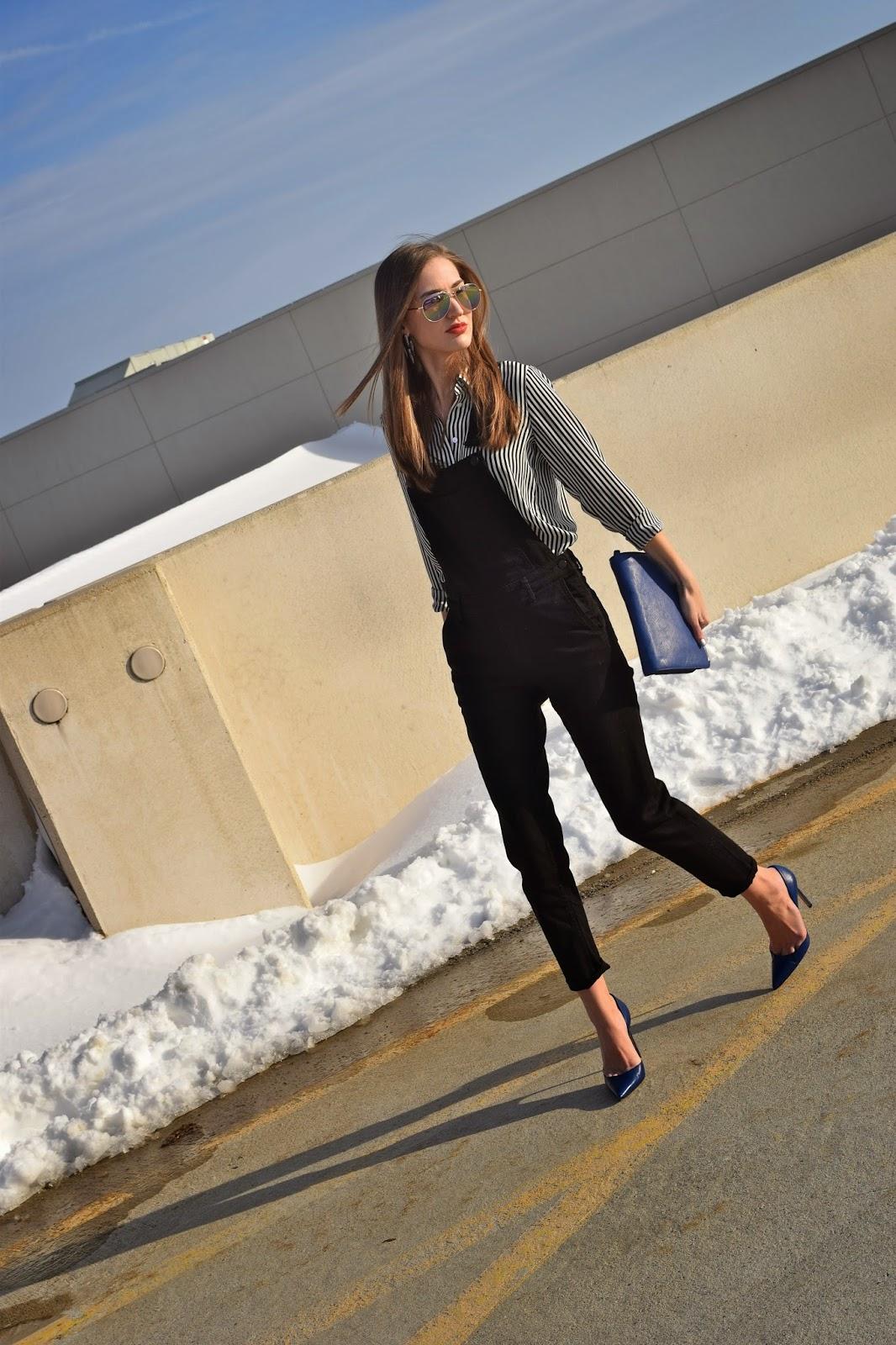 H&M Black Jean Overalls, Manolo Blahnik Tayler Heels