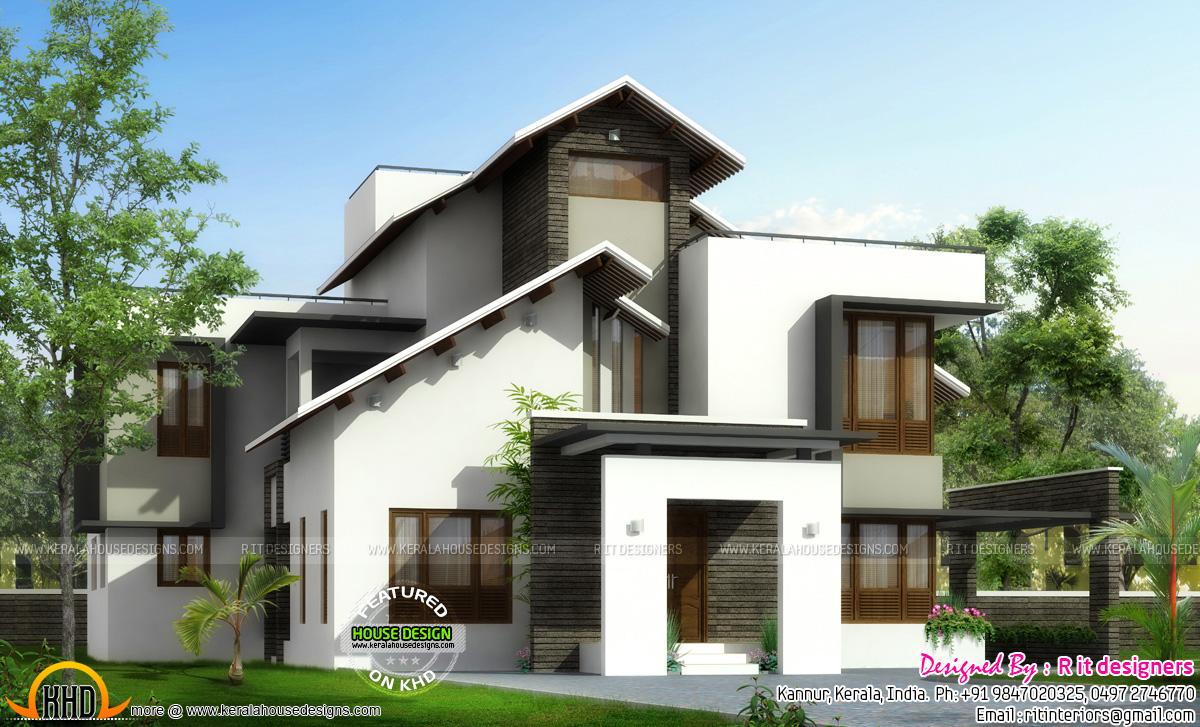 Front Elevation Slanting Roof Design : Slanting roof mix home plan kerala design and floor