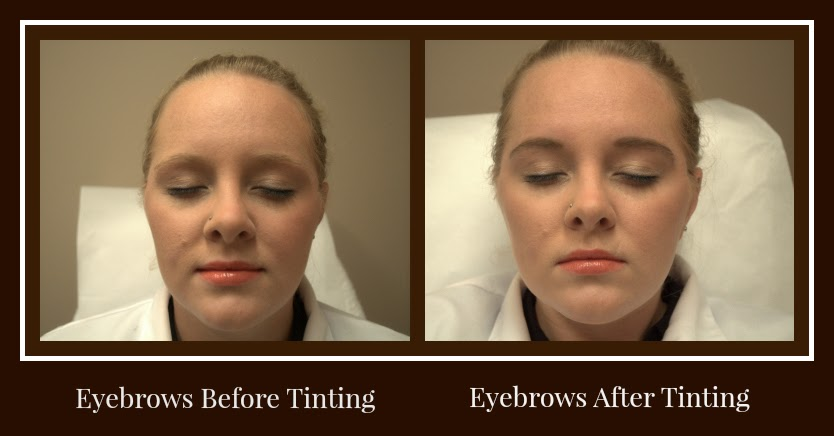 Alicia's eyebrows, before and after tinting