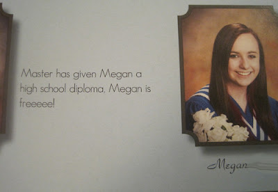 Master has given Megan a diploma