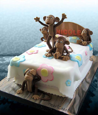 "Cake by ""i heart cake"" Five little monkeys jumping on the bead."