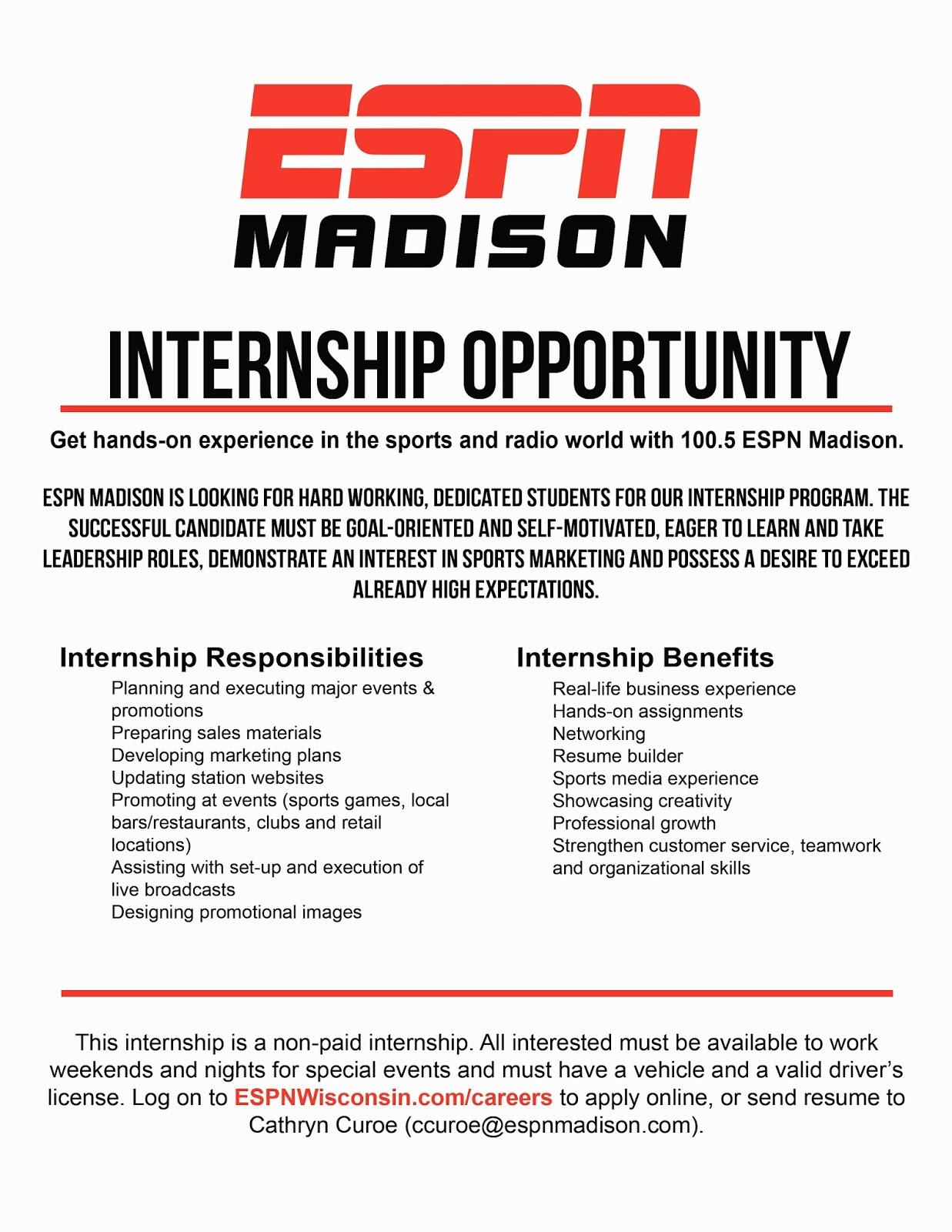 resume Uw Madison Resume sports business club at uw madison espn internship opportunity posted by 649 am