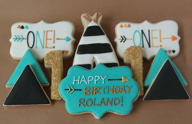pumpkin pow wow first birthday party cookies