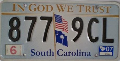 Güney Karolina Plaka Numarası
